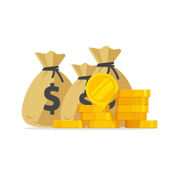 Beaucoup d'argent ou pile de pièces d'or et de l'argent dans la bande dessinée plat isolé de sacs Vecteur Premium