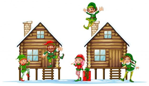 Beaucoup d'elfes sur les cabanes en bois Vecteur Premium