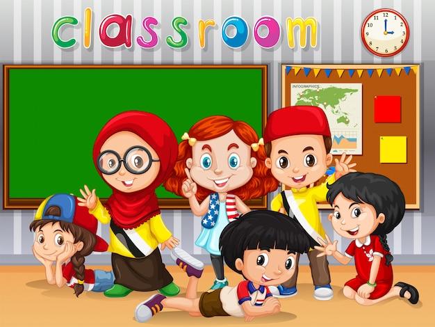 Beaucoup d'enfants apprennent en classe Vecteur gratuit