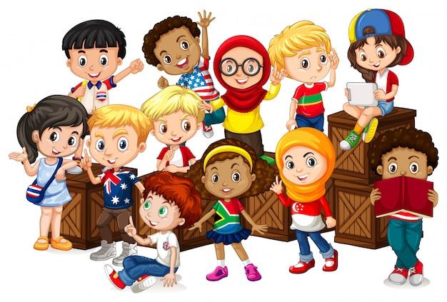 Beaucoup d'enfants assis sur des caisses en bois Vecteur gratuit