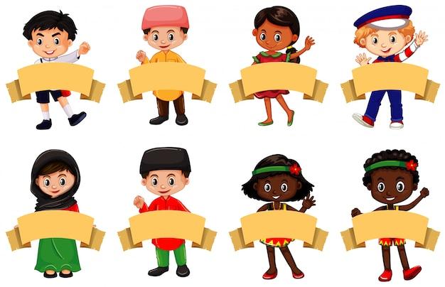 Beaucoup D'enfants Et De Bannières Brunes Vecteur gratuit