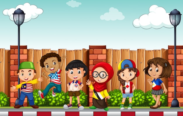 Beaucoup d'enfants debout sur le trottoir Vecteur gratuit