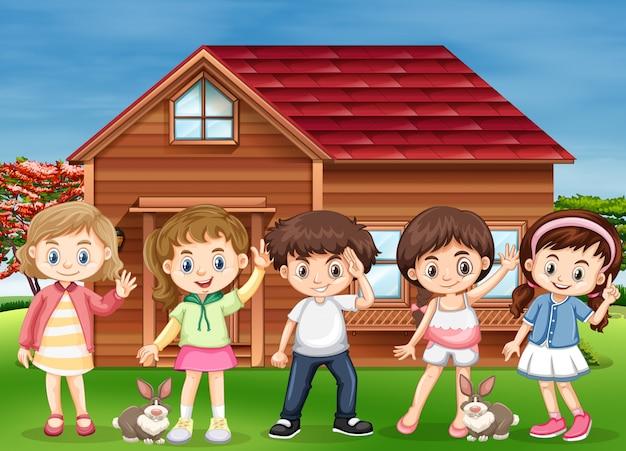 Beaucoup d'enfants heureux à la maison Vecteur Premium