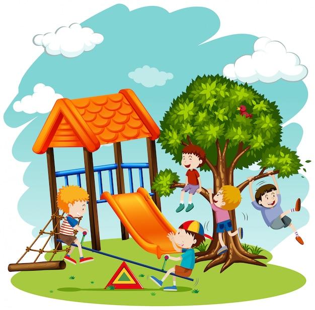 Beaucoup d'enfants jouent dans la cour de récréation Vecteur gratuit