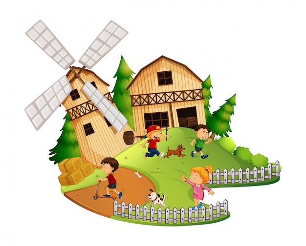 Beaucoup d'enfants jouent dans la ferme Vecteur Premium