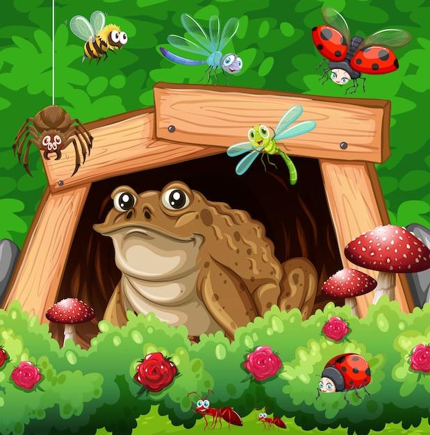 Beaucoup D'insectes Dans Le Jardin Vecteur gratuit
