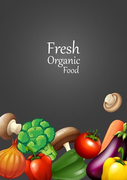 Beaucoup de légumes et de texte Vecteur gratuit