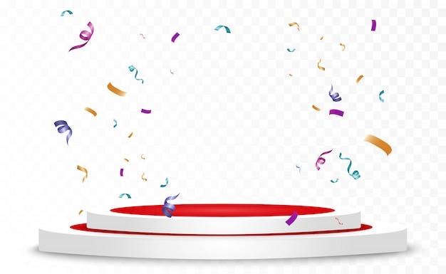 Beaucoup De Minuscules Confettis Colorés Et Rubans Sur Fond Transparent. événement Festif Et Fête. Fond Multicolore. Confettis Lumineux Colorés Isolés Sur Le Podium. Vecteur Premium