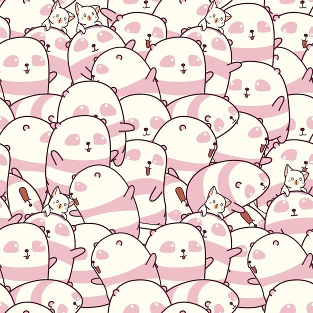 Beaucoup de pandas et de chats à motifs. Vecteur Premium
