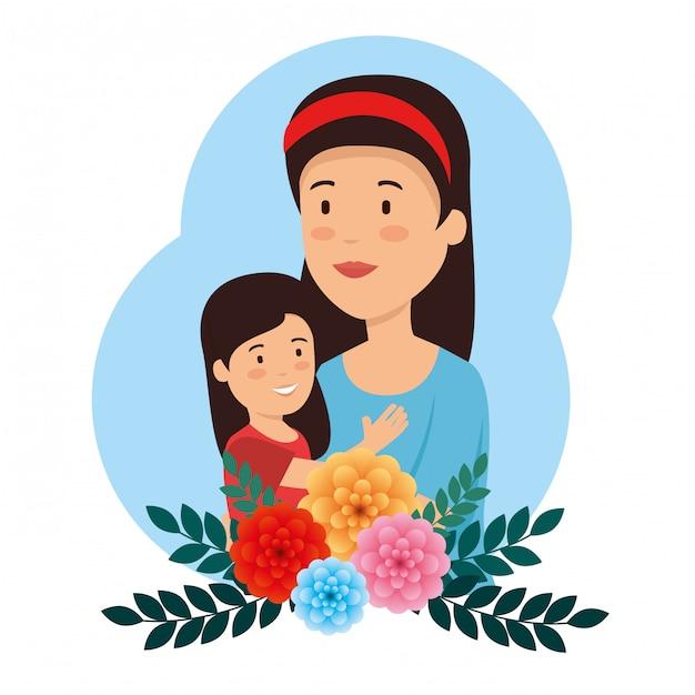 Beauté femme avec sa fille et fleur à la fête des mères Vecteur gratuit