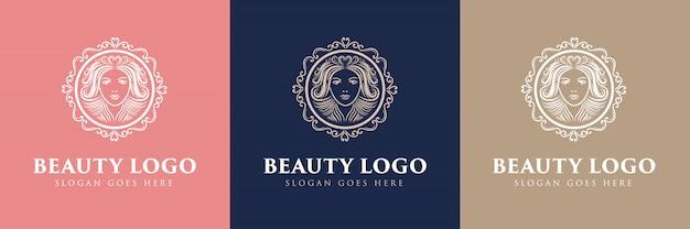 Beauté Logo Féminin Floral Dessiné à La Main Avec Visage Et Cheveux Adapté Pour Fille Fitness Cheveux Beauté Santé Cosmétique Salon De Beauté Naturel Vecteur Premium