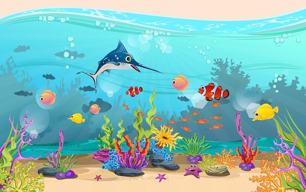 La Beauté Des Paysages Sous-marins. Les Poissons Et Les Récifs Coralliens Sont Magnifiques. Vecteur Premium