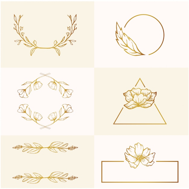 Beauté Printemps Or Floral Croquis Mariage Cadre Ornement Vecteur Premium
