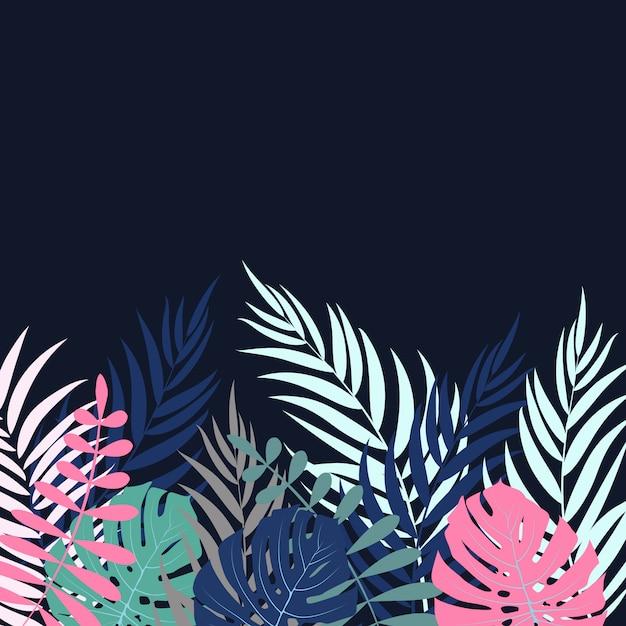 Beautifil Palm Tree Leaf Silhouette Background Vecteur Premium