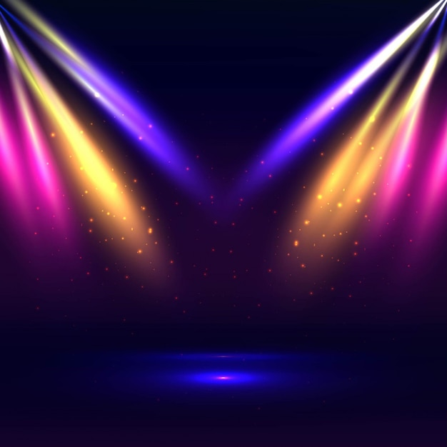 Beautiful stage with colorful lights background Vecteur gratuit
