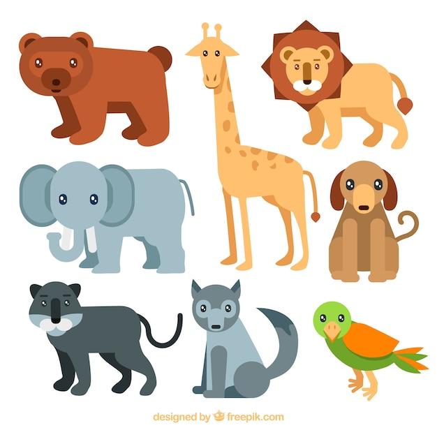 Beaux animaux avec un design plat Vecteur gratuit