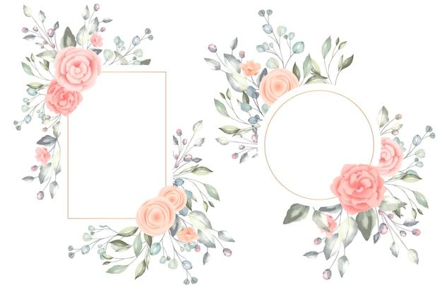 Beaux cadres floraux aquarelles Vecteur gratuit