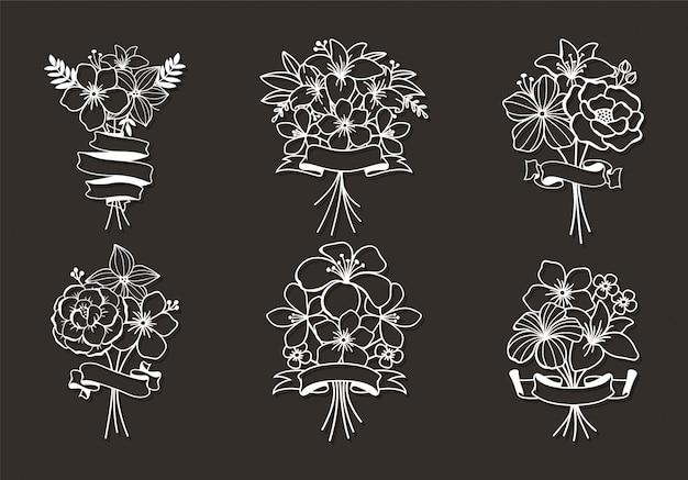 Beaux éléments De Fichier De Coupe Florale Vecteur Premium