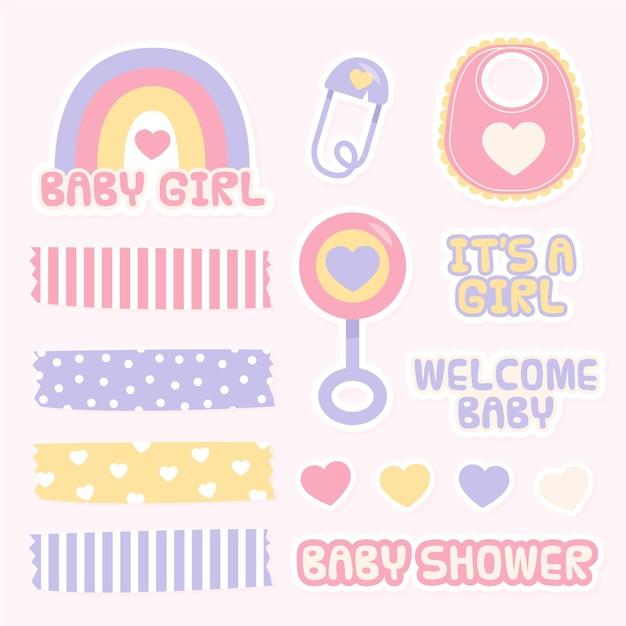 Beaux éléments De Scrapbooking Baby Shower Vecteur gratuit