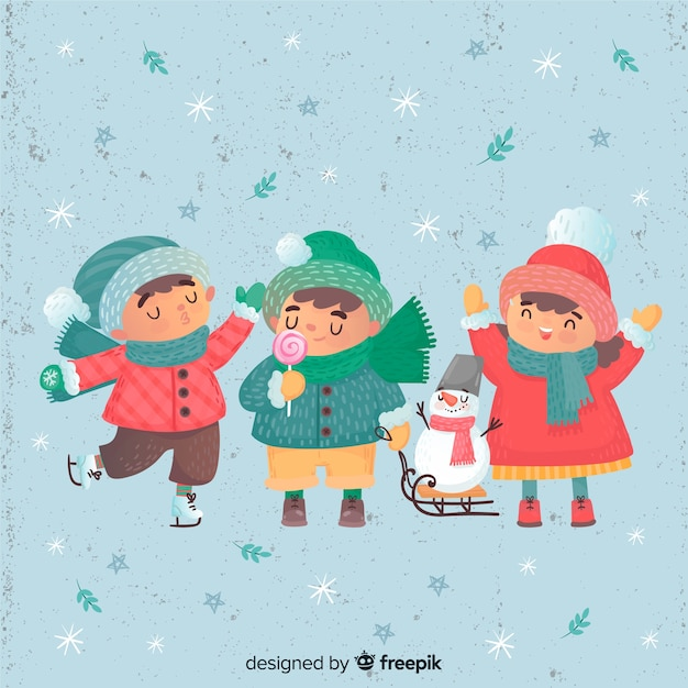Beaux enfants fêtant l'hiver Vecteur gratuit