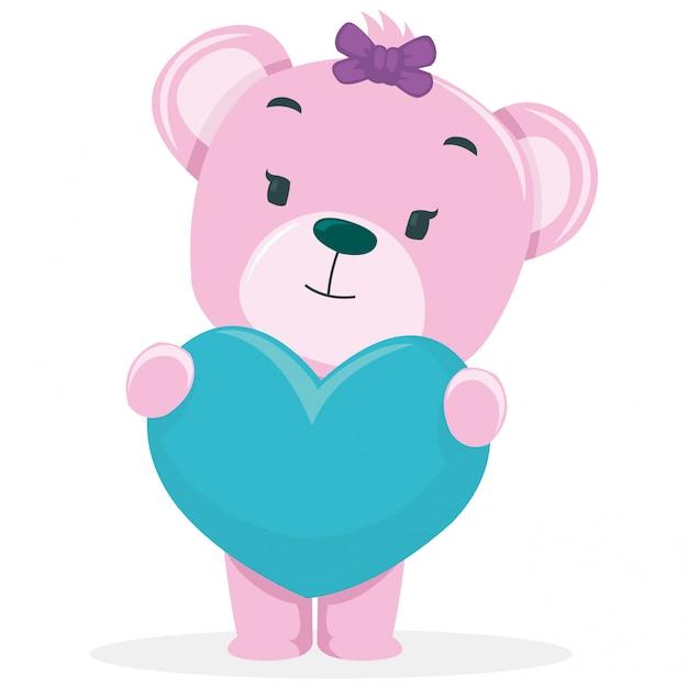 De beaux ours reçoivent un cadeau le jour de la saint valentin Vecteur Premium