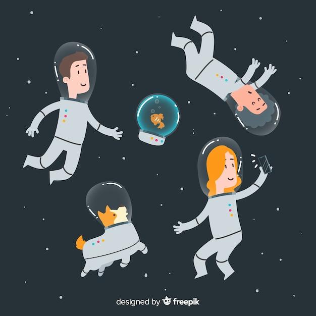 De beaux personnages d'astronaute dessinés à la main Vecteur gratuit