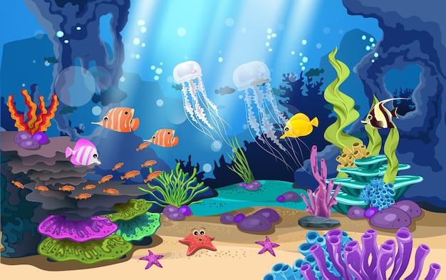 Beaux récifs coralliens et poissons dans la mer Vecteur Premium