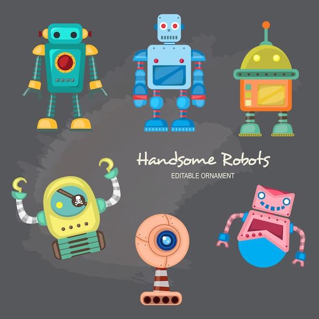 Beaux robots ace Vecteur Premium