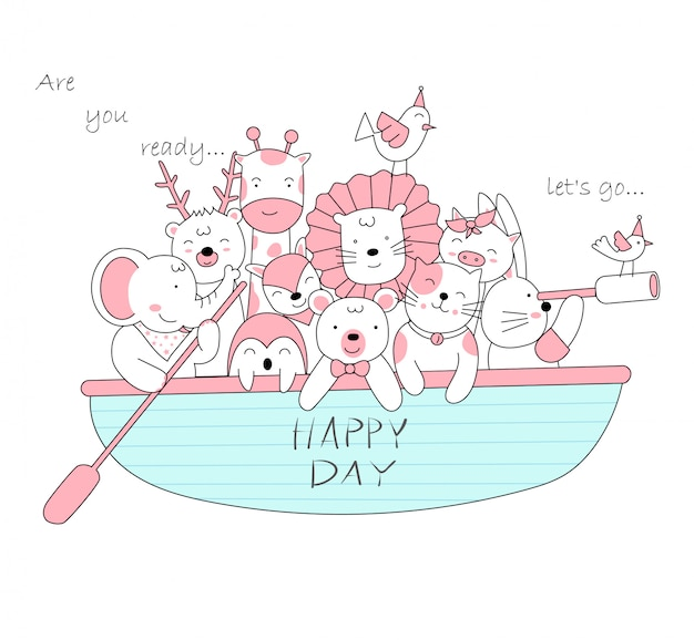 Le bébé animal mignon avec le bateau. Vecteur Premium