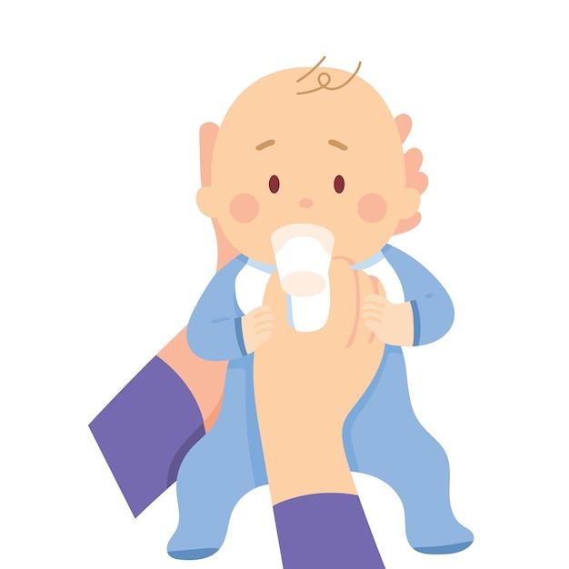 Bébé boire du lait de verre Vecteur Premium