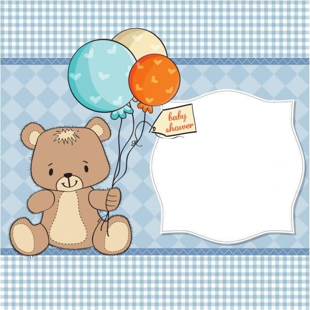 Bébé carte de douche avec ours en peluche Vecteur gratuit