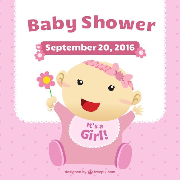 B b carte de douche avec une fille illustration - Laver un bebe dans une douche ...