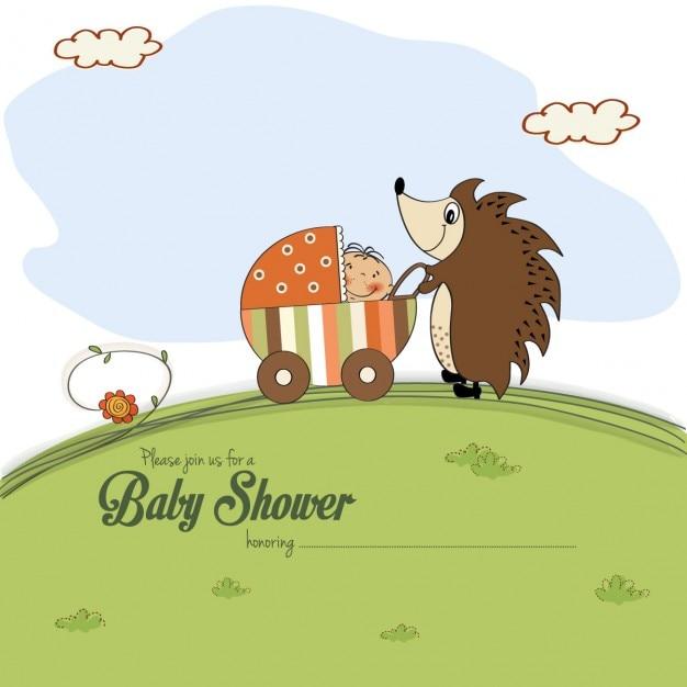 B b carte de douche avec un h risson qui pousse une - Laver un bebe dans une douche ...