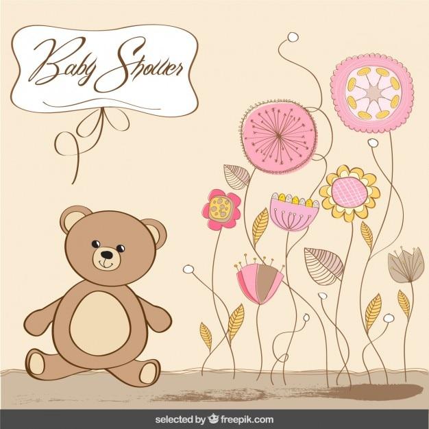 Bébé carte de douche avec ours dans des couleurs pastel Vecteur gratuit