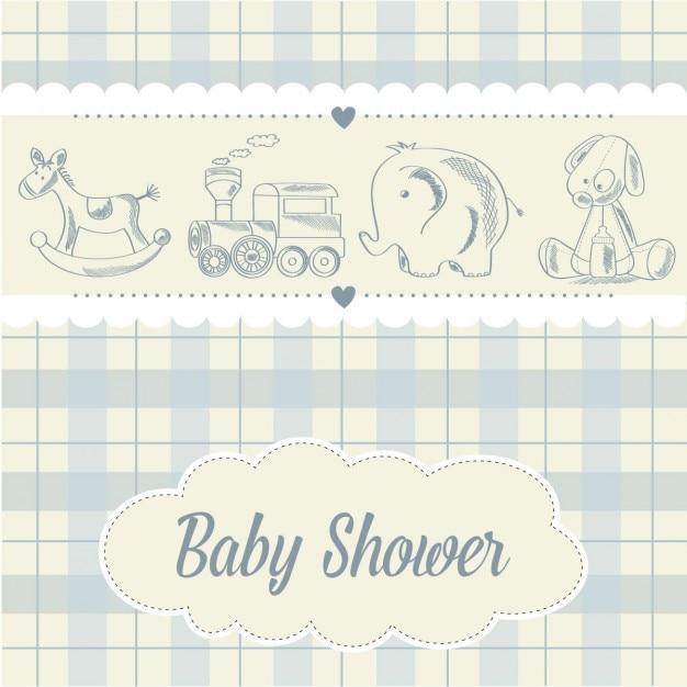 Bébé carte garçon de douche avec rétro jouets Vecteur gratuit
