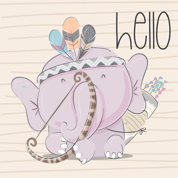 Bébé éléphant dessinés à la main des animaux illustration-vecteur Vecteur Premium