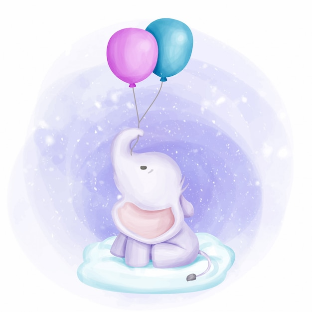 Bébé éléphant a tenu deux ballon sur nuage Vecteur Premium