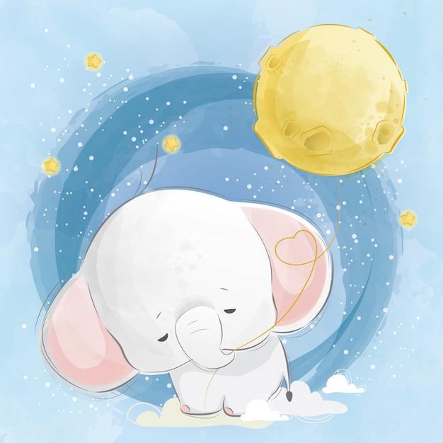 Bébé éléphant tirant le ballon de la lune Vecteur Premium