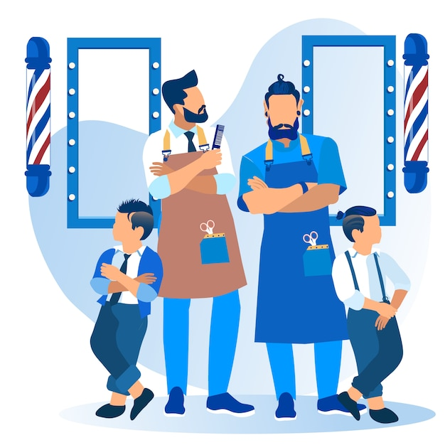 Bébé garçon avec coupe de cheveux cool dans le salon de coiffure Vecteur Premium