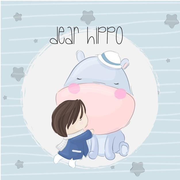 Bébé hippo boho Vecteur Premium