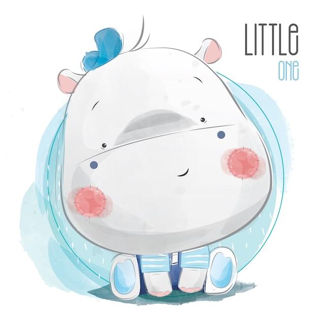 Bébé hippo garçon Vecteur Premium