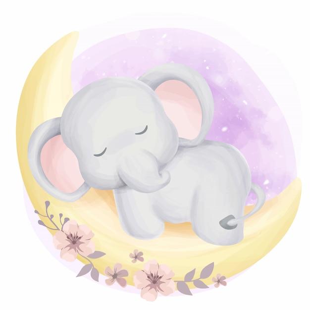 Bébé mignon éléphant endormi sur la lune Vecteur Premium