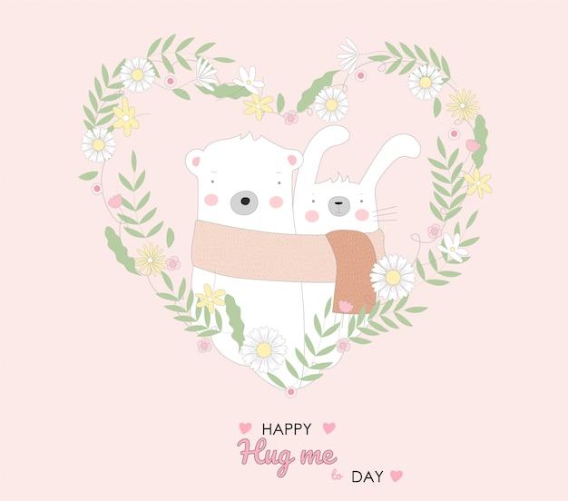 Le bébé mignon lapin et ours personnage cartoon style dessiné à la main Vecteur Premium