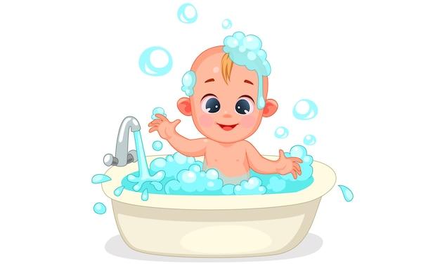 De bébé mignon se baignant avec de la mousse et des bulles Vecteur Premium