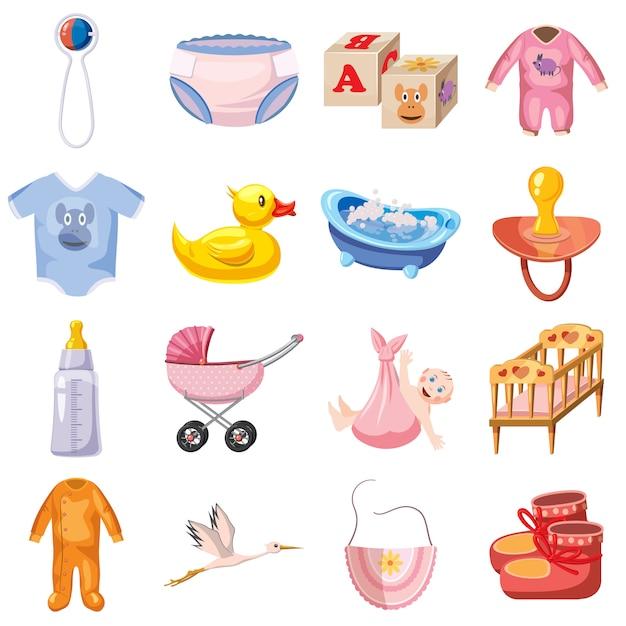 Bébé né ensemble d'icônes, style cartoon Vecteur Premium