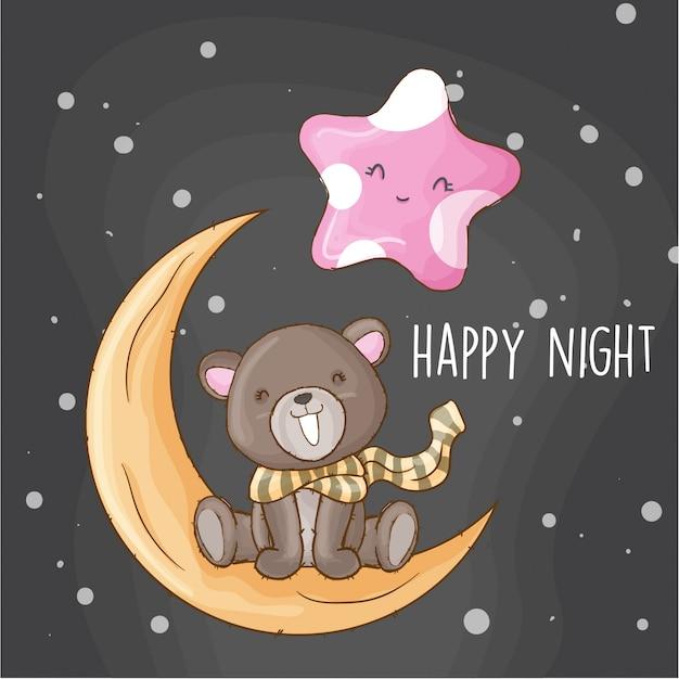 Bébé ours sur l'animal dessiné à la main de la lune Vecteur Premium