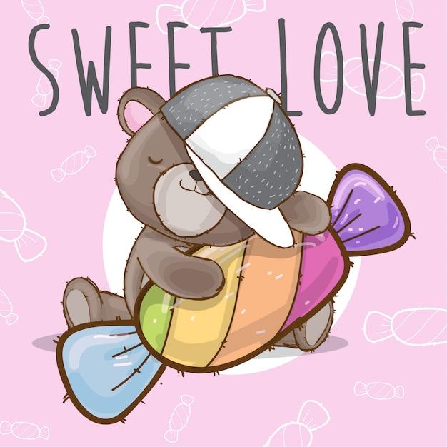 Bébé ours avec bonbons animal dessiné à la main Vecteur Premium