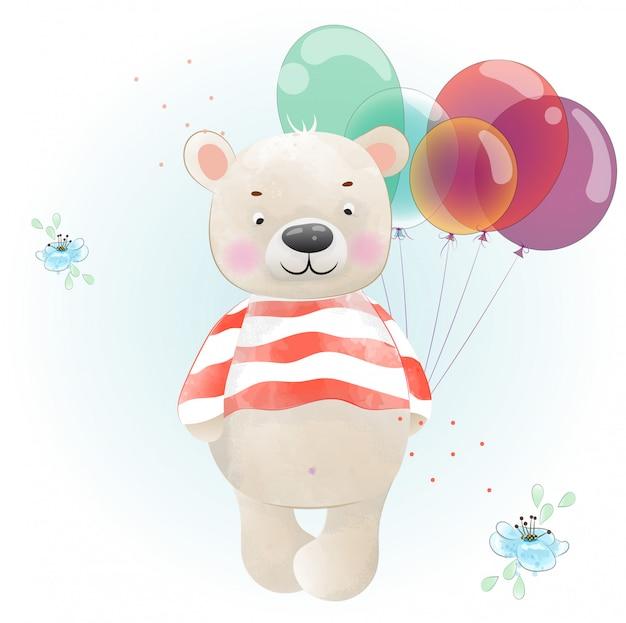 Le bébé ours est coloré à l'aquarelle Vecteur Premium
