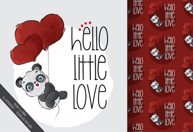 Bébé Panda Volant Avec Des Ballons D'amour Rouges Avec Motif Sans Couture Vecteur Premium