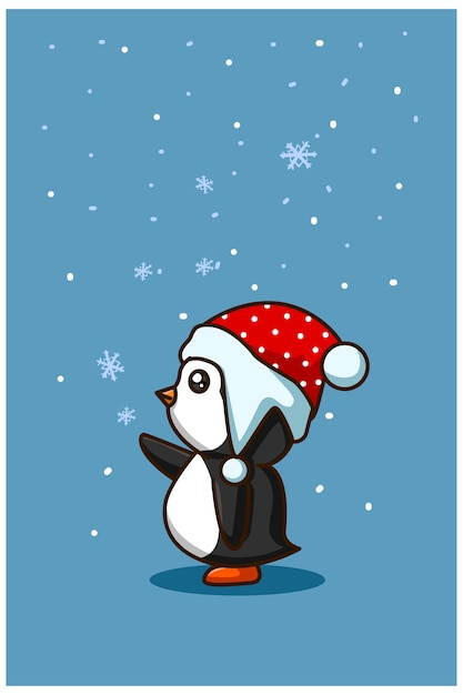 Un Bébé Petit Pingouin Avec Du Cristal De Glace à Noël Vecteur Premium